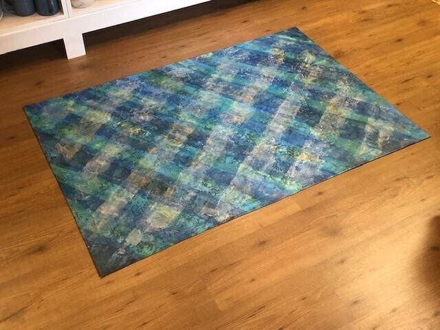 Macurdy Floorcloth (35.25X52) Blue/Green Grid