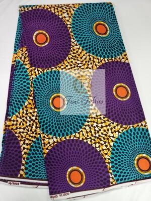 3 yrds Purple Blue Ripple/African Print/Ankara