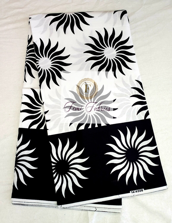Black White Sun Burst/Ankara/African Fabric