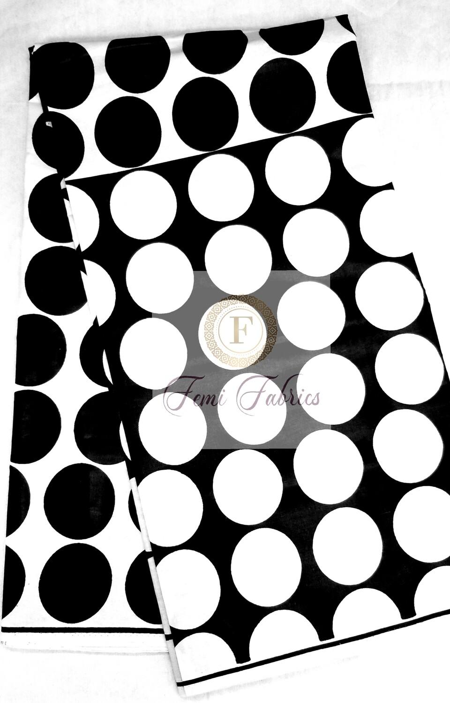 Black & White Dots/Ankara/African Print Fabric