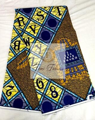Blue and Yellow School House/Ankara/African Fabric