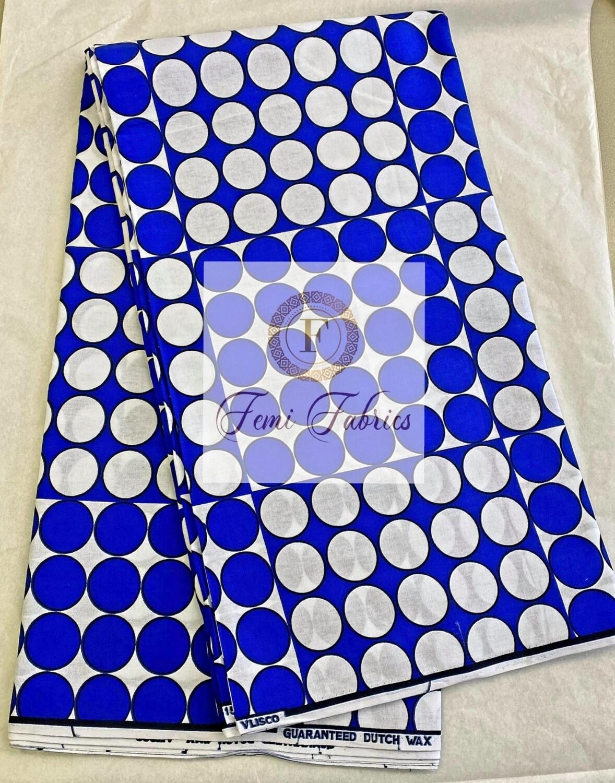 Blue & White Polka Dots/Wax Ankara