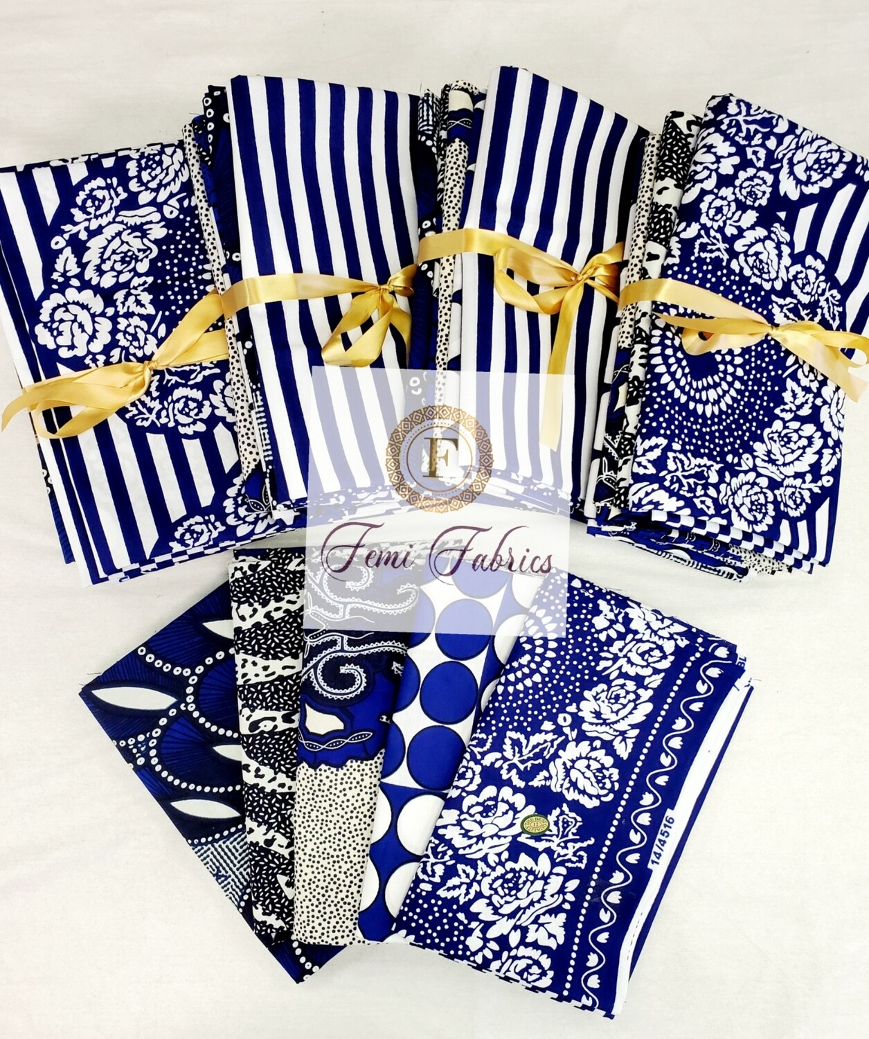 Scrap Pack- Blue and White/Ankara/African Fabric