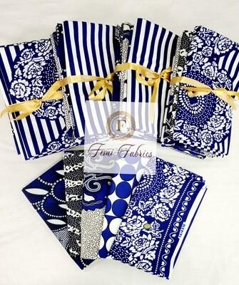 Scrap Pack- Blue and White/Ankara/African Fabric