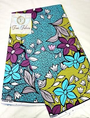 Turquoise Field Ankara/African Print Fabric