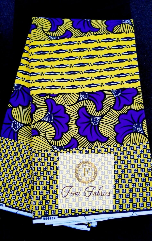 Yello Purple Lotus Patchwork/Ankara/African Print