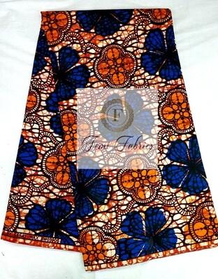 Blue Orange Clove Ankara/African Print Fabric
