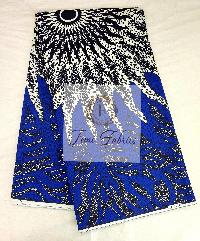 Blue Star Burst House/Ankara/African Fabric