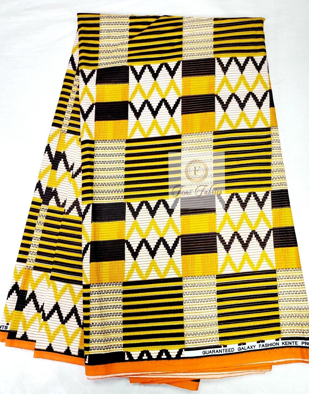 Mustard Kente Print/Ankara African Wax
