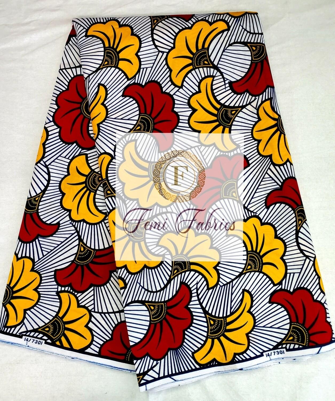 Red & Yellow Fleur de Marige/Ankara/African Fabric