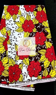 Red Yellow Flower Bed Ankara/African  Fabric