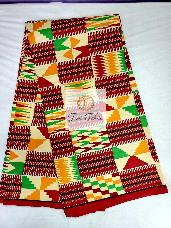 Red Kente Print Ankara/African Fabric