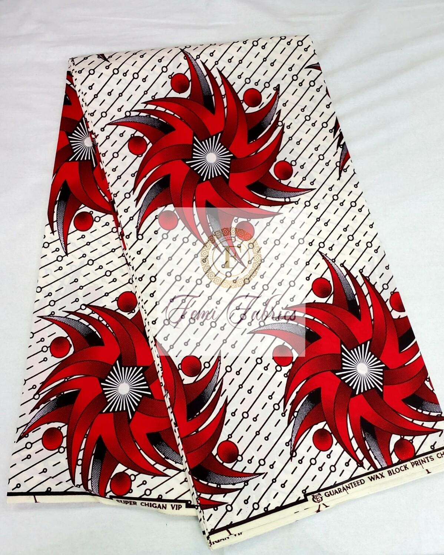 Red Sun Glow/Ankara/African Print Fabric