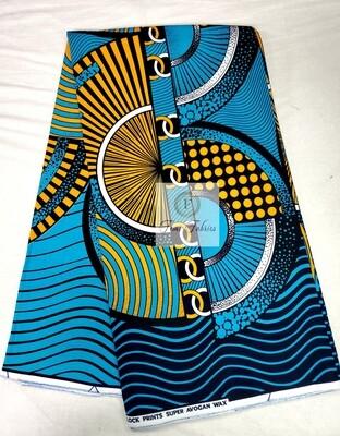 Blue Yellow Time Machine /Ankara/African Print Fabric