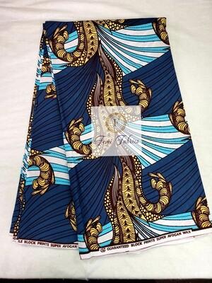 Teal Blue Relic/Ankara/African Print Fabric