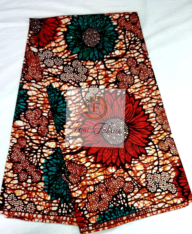 Red Green Carnation Meadows/Ankara/African Fabric