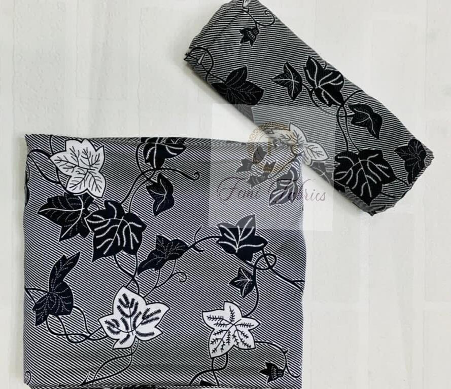 Black and White Vine Silk Chiffon Set