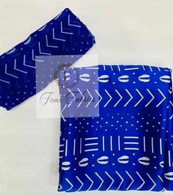Blue Tribal Silk Chiffon Set