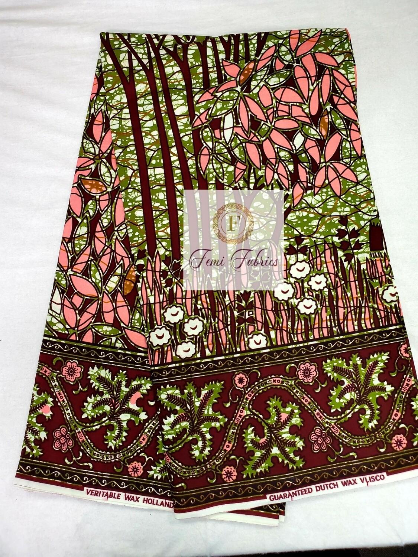 3 yrds Pink Green Jungle/Ankara/African Print Fabric
