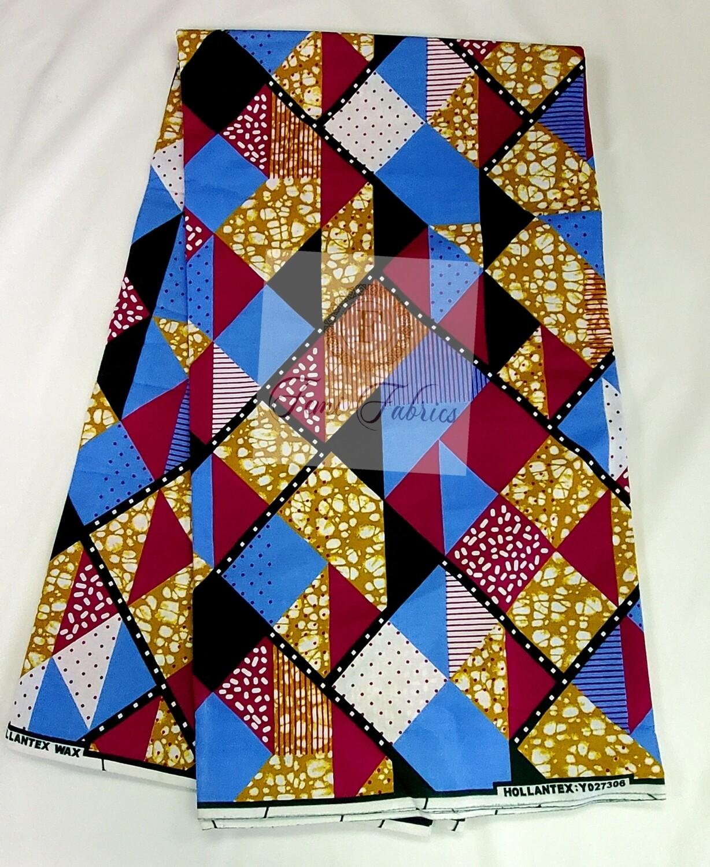 Blue Pink Square/Ankara/African Print Fabric