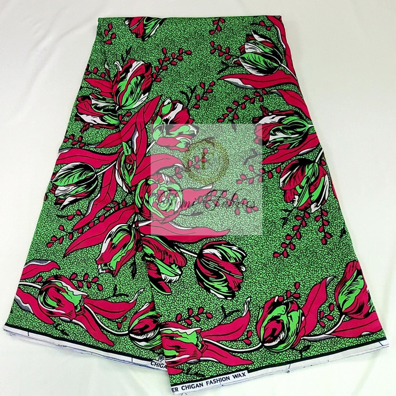 Pink Green Gully/Ankara/African Fabric