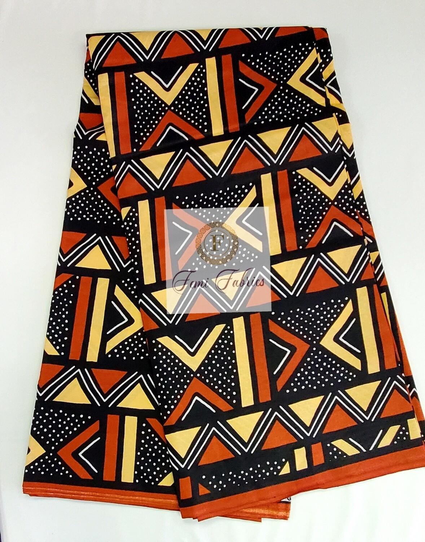 Brown Tan Mud Cloth Print/Ankara/African Fabric