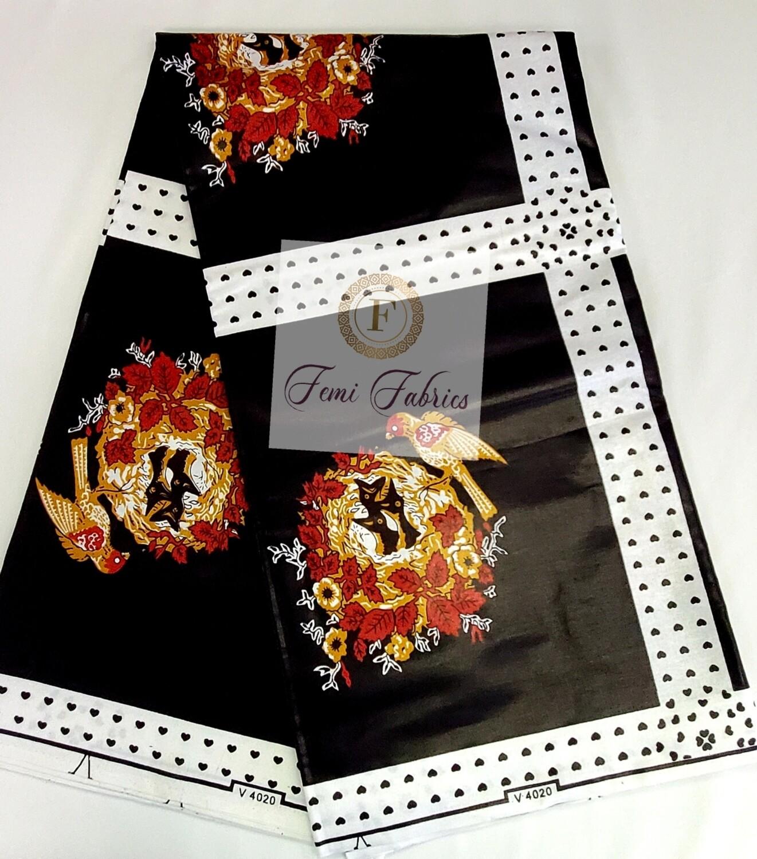 Black White Red Birds /Ankara/African Fabric