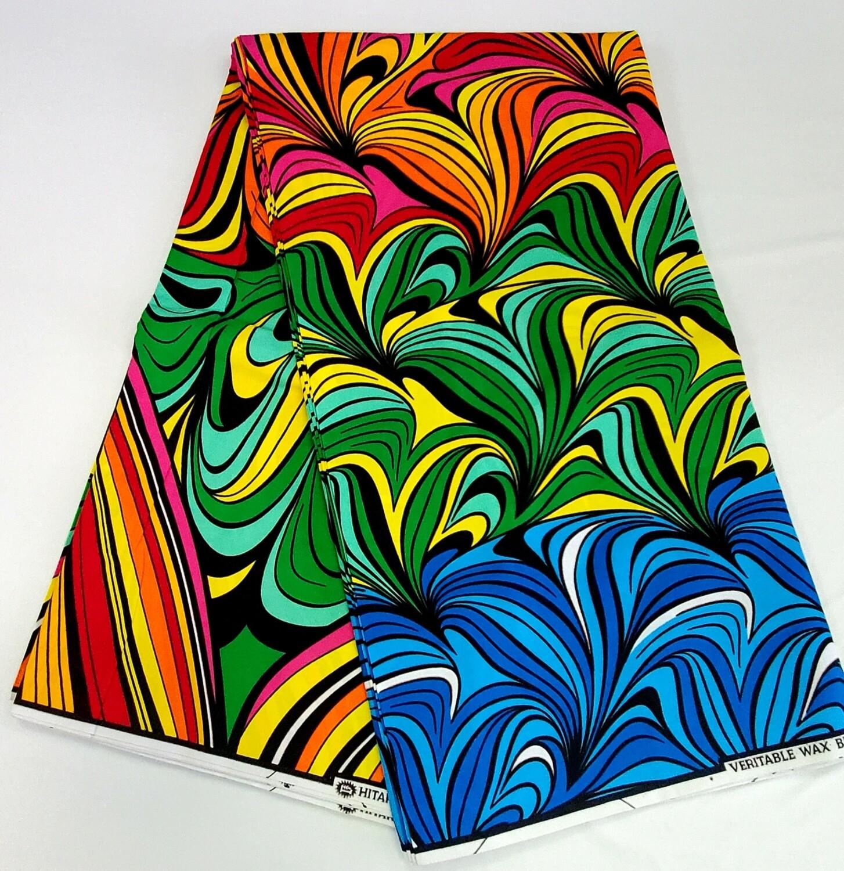 Green Blue Orange Colorama/Ankara/African Fabric