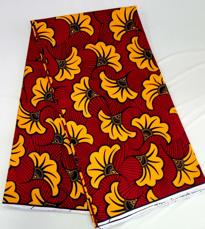 Golden Red Florets/Ankara/African Fabric