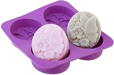 Silicon Mould Soap - Butterfly Flowers 4 pack