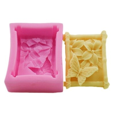 Silicon Mould Soap - Square Butterfly & Flowers