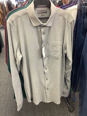 Men's Speckled Gray Mercury Long Sleeve Shirt by Ike Behar