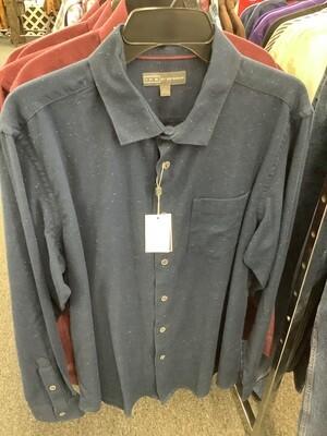 Men's Navy Night Long Sleeve Shirt by Ike Behar