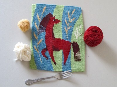 Weaving on a Frame. Project 3. Little horse