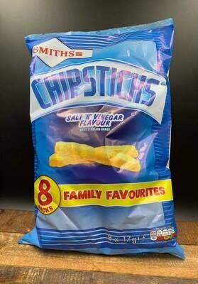 Smiths Chipsticks Salt n Vinegar Flavour 8 pack 8x17g