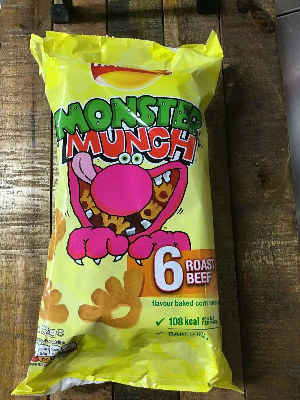 Walkers Monster Munch Roast Beef 6 pack
