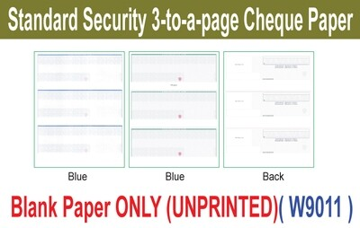 Standard Security 3-to-a-page Cheque Paper (Paper ONLY)