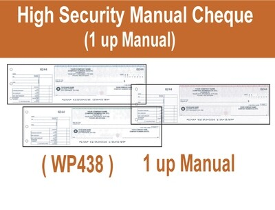 High Security 1 up Manual (Hand Written) Cheque