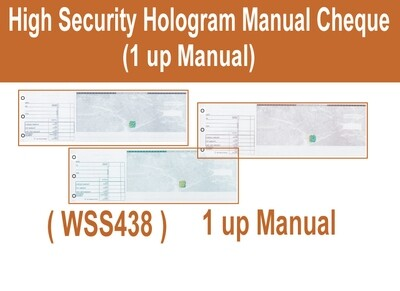 High Security Hologram 1 up Manual (Hand Written) Cheque