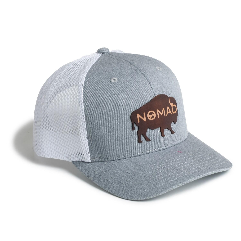Nomad Grey/White Mesh Hat - Buffalo Leather Logo
