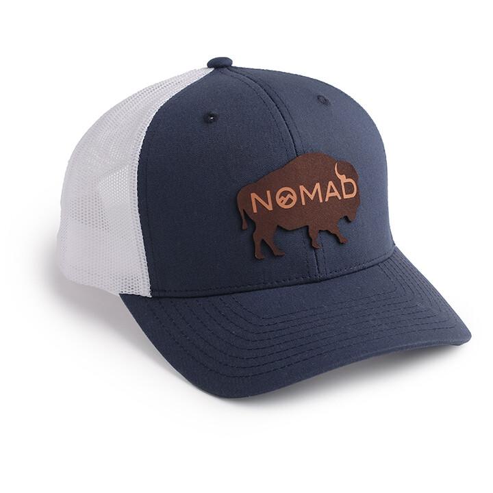 Nomad Navy/White Mesh Hat - Buffalo Leather Logo