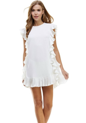 TCEC: ruffle white dress