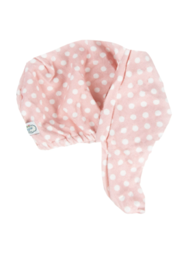 white polka dot hair turban