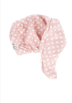 pink polka dot hair turban