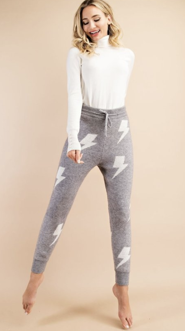 eesome: Grey/White Lightning Bolt Lounge Pant