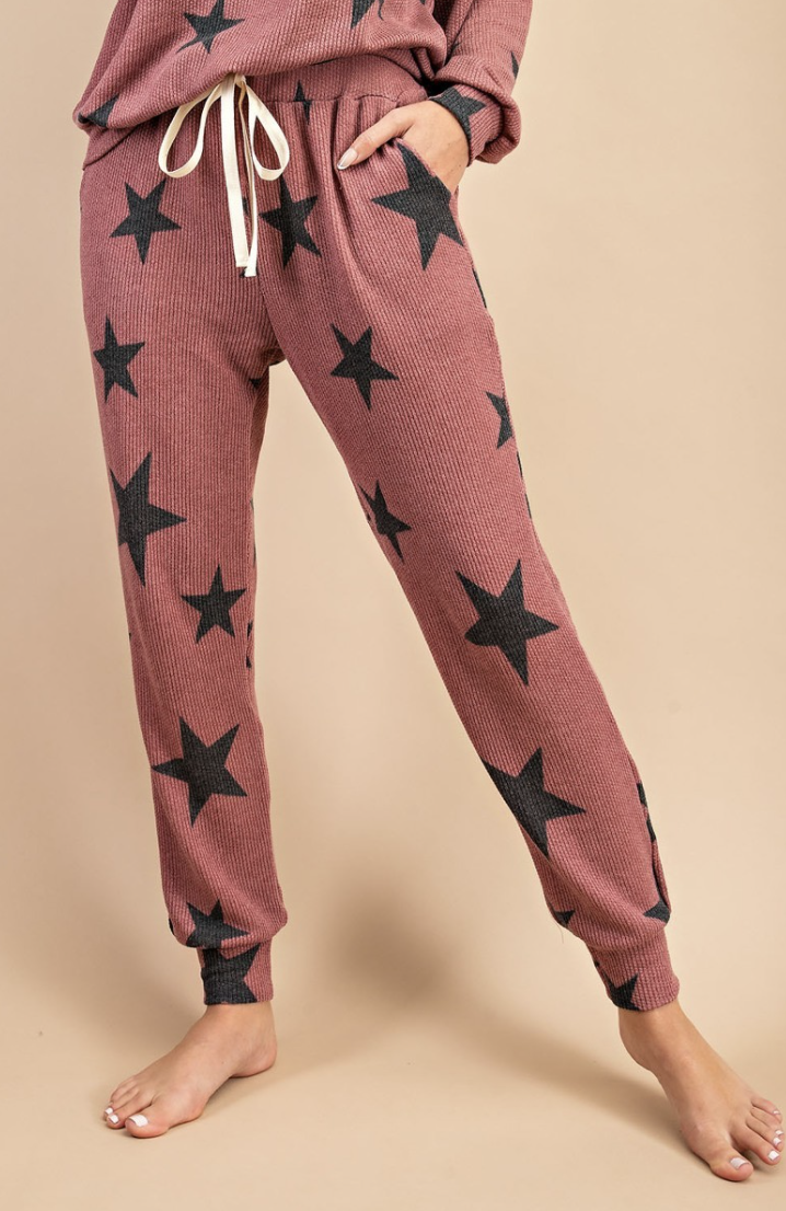 eesome: Pink/Grey Star Sleep Pant