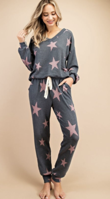 eesome: navy/pink star sleep pant
