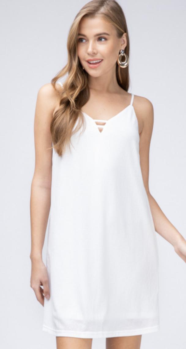 Entro: Cross Tank Dress White