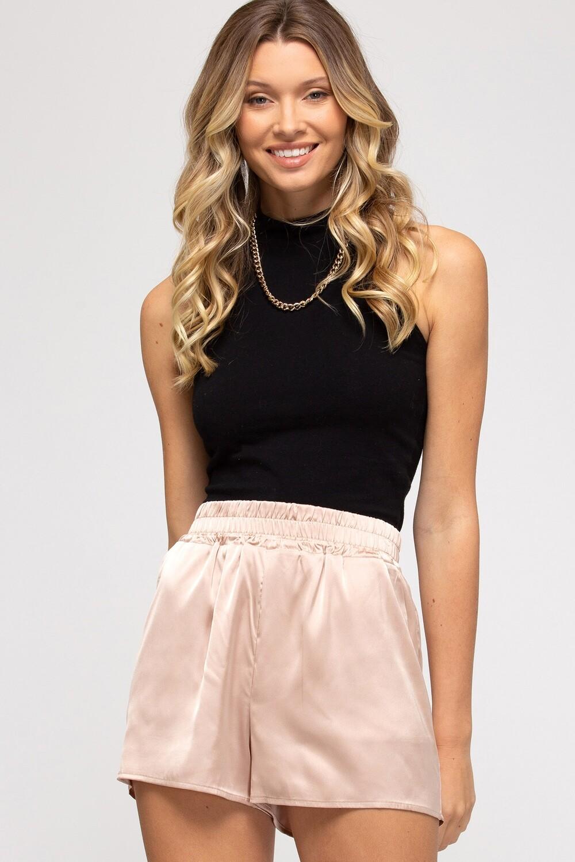 She & Sky: Taupe Satin Shorts