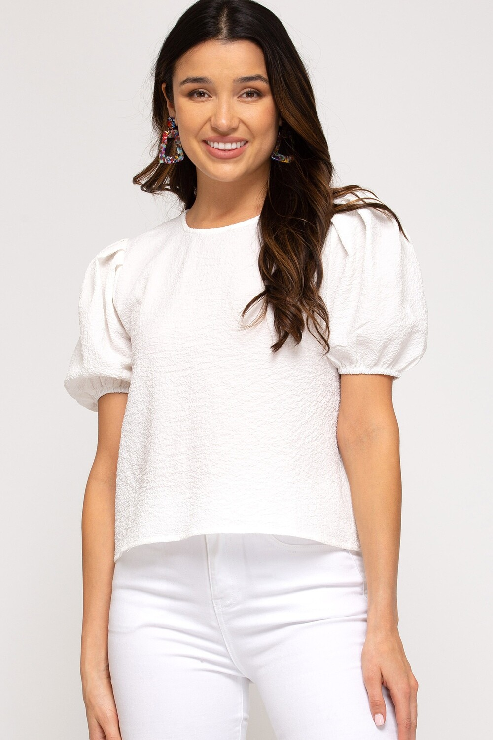 She and Sky: White Short Puff Sleeve